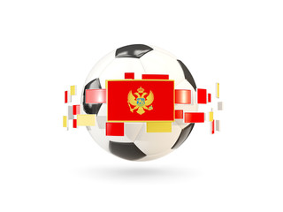 Soccer ball with line of flags. Flag of montenegro