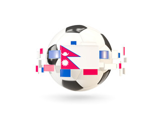 Soccer ball with line of flags. Flag of nepal