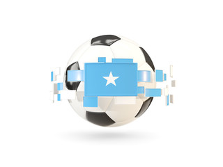 Soccer ball with line of flags. Flag of somalia
