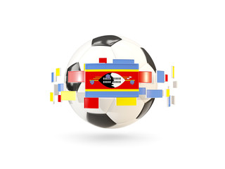 Soccer ball with line of flags. Flag of swaziland
