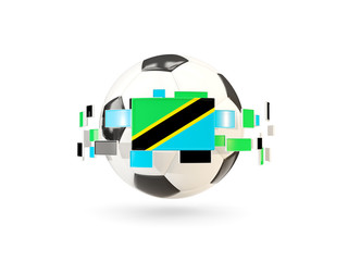 Soccer ball with line of flags. Flag of tanzania