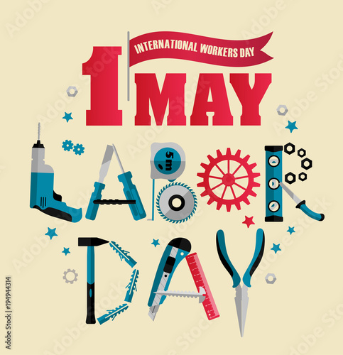 1 May Labour Day Poster Or Banner Vector Illustration Stockfotos