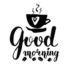 Vector lettering with a good morning. black text on white background. Scattered coffee beans and steaming cups with a heart full of hot coffee. Handwritten calligraphy