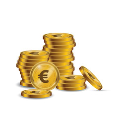 Financial growth concept with golden coin Euro. Stack of Euro Golden Coin.