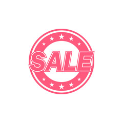 Sale label. Red color, isolated on white.