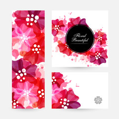 Romantic background with red and pink flowers and paint splashes.