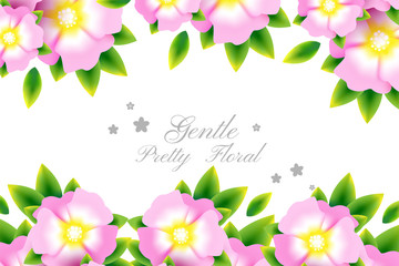 Romantic background with light pink blossoms with leaves.