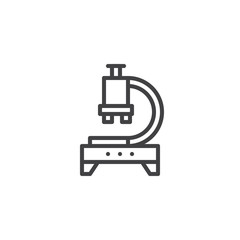Microscope, research outline icon. linear style sign for mobile concept and web design. Laboratory equipment simple line vector icon. Symbol, logo illustration.