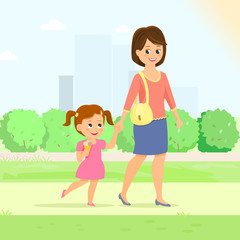 Mother with daughter.Mom holds her daughter hand.Isolated on white background. Cartoon style. Vector illustration