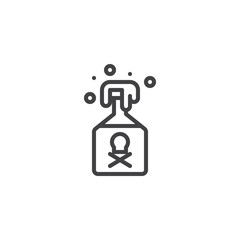 Poison bottle outline icon. linear style sign for mobile concept and web design. Jar with poison simple line vector icon. Symbol, logo illustration. Pixel perfect vector graphics
