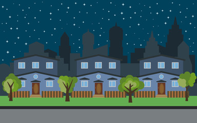 Vector city with three two-story cartoon houses and green trees at night. Summer urban landscape. Street view with cityscape on a background