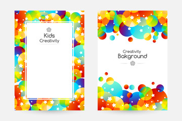 Creative kids cards with colorful bubble decoration and starry texture.