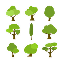 Various Cartoon Style Isolated Tree Plant Illustration Assets