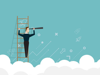illustration of businessman standing on ladder and use telescope looking for target business vision concept