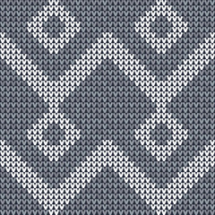 Knitted textile seamless pattern background. Sweater vector illustration. Blue and gray color. Needlework.