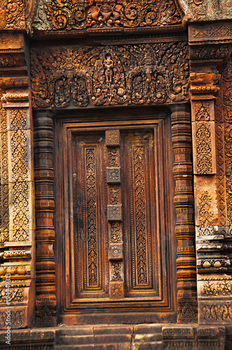 Carved door banteay srei temple angkor cambodia. the citadel of