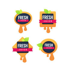 vector collection of bright geometrical sticker, emblem and logo for  fruit  fresh juice