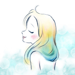 透明感のある水彩の女性イメージ / 海のイメージ