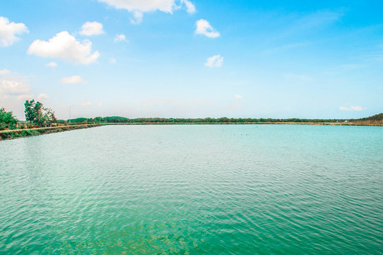 beautiful lake side view  at Phetchaburi, Thailand