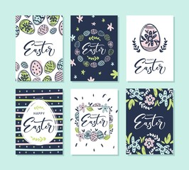Set of 6 Happy Easter greeting cards