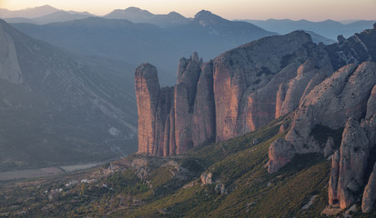 Mallos of Riglos in Huesca, long shot from top of the mountain