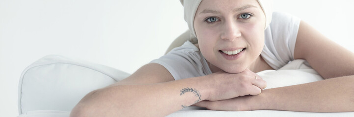 Smiling woman with cancer
