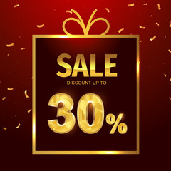 Sale discount 30 percent in gift box. Vector Low polygonal font. Special offer sale gold tag isolated vector. Discount offer price label, symbol for advertising campaign on shopping day.