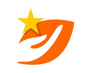 star hand silhouette ornament image vector icon