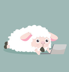 Cute sheep  with notebook