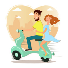 Happy man and woman in love riding a scooter. Vector cartoon illustration.