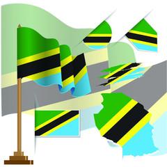 tanzania flags vector illustration