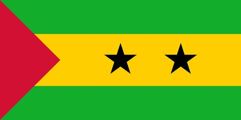 Flag in colors of Sao Tome and Principe, vector image.
