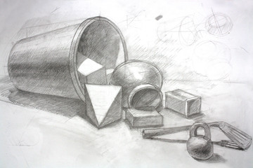 Sketched Art Drawing Details From Bucket