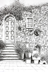 Old House Wall Architecture Ballpoint Pen Drawing