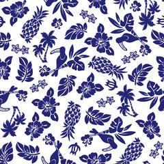 ハイビスカスとパイナップルのパターン