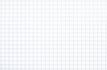 Real white grid paper texture or background School notebook