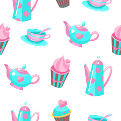 Seamless pattern on a white background. Tea utensils and a beautiful cake with cream.