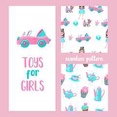 Seamless pattern on a white background. The attributes of a beautiful life of the girl. A pink convertible, a little dog in a suit, diamonds, a Royal crown. Seamless pattern with tea utensils.