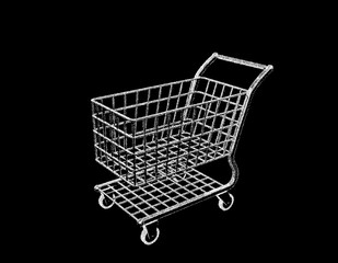Empty shopping cart. Isolated on black background. Vector illustration.