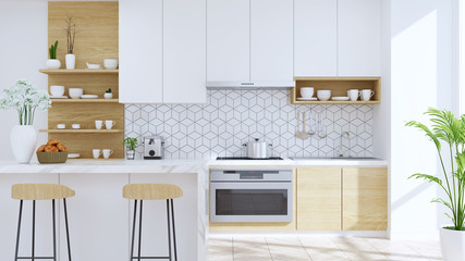Modern kitchen room interior,wood Stool with mable counter bar and modern furniture ,white pantry room .3drender