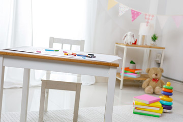 Positive minimalist and colorful room for kids and teenagers, Educational concept for school kids. Playroom decorrative for child at home.