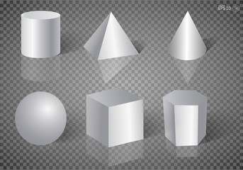Geometric shape for education illustration on a transparent background. Realistic white basic 3d shapes vector set. Vector illustration EPS10