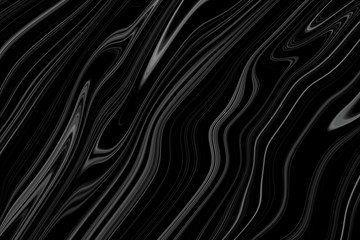 Black marble with white divorces and wavy pattern. Abstract background with thin infinite lines.
