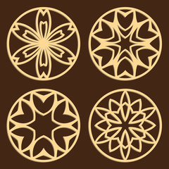 DIY laser cutting patterns. Jigsaw die cut ornaments. Islamic cutout silhouette stencils. Fretwork round panels. Vector coasters for paper cutting, scrapbook and woodcut.