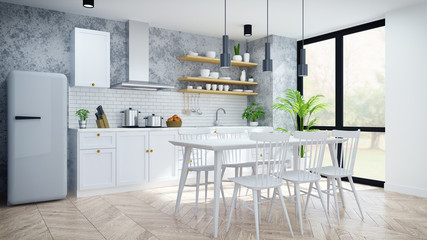 Modern and loft  kitchen ,pantry, dinning room ,White  modern furniture on woodfloor and concrete floor .3drender