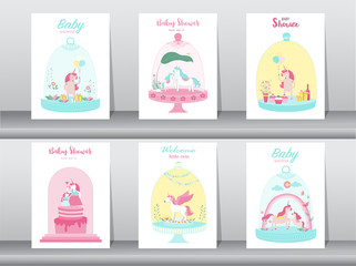 Set of baby shower cards,poster,invitations, cards,template,greeting cards,animals,fantasy,magica ,Cute funny cartoon unicorn in a glass jar, Magical,animals,greeting card.Vector illustrations.
