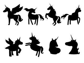 Set of cute unicorns silhouettes,icons,vintage, background, horses, tattoo,Hand drawn, outline, black on white,Vector illustrations.