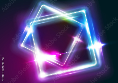 ad943cce Vector Neon Rectangle Frame Illustration. Abstract Background with Led Light  Effect. Shining Square Shape