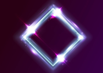 Vector Neon Rectangle Frame. Shining Square Shape with Vibrant Electric Blue, Pink, Violet Colors. Led Light Effect. Glowing Design for Party Decoration, Greeting Card, Fashion Show, Game Design.