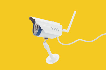 surveillance camera recording isolated on yellow background